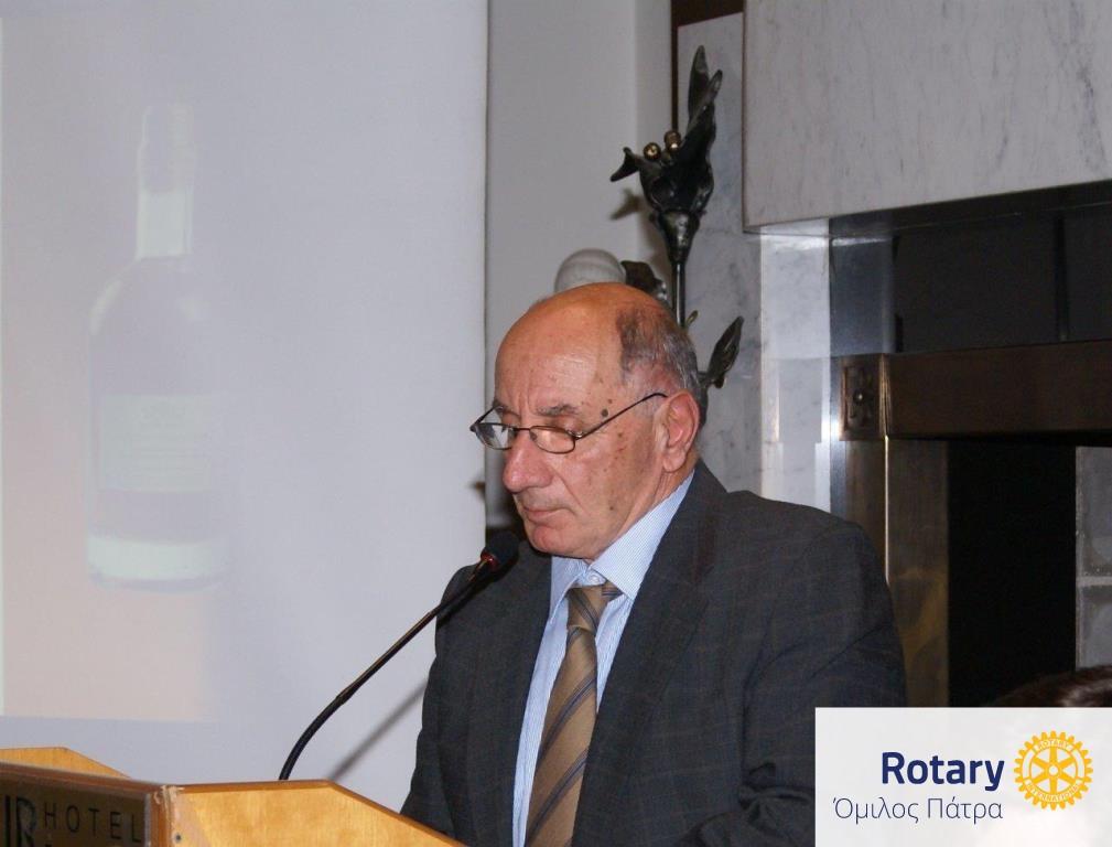 """Ομιλία του οινοποιού Θανάση Παρπαρούση με θέμα """"Η επίδραση των βιοκλιματικών συνθηκών και των μικροκλιμάτων στη διαμόρφωση των ποιοτικών χαρακτηριστικών των οίνων της ΒΔ Πελοποννήσου"""""""